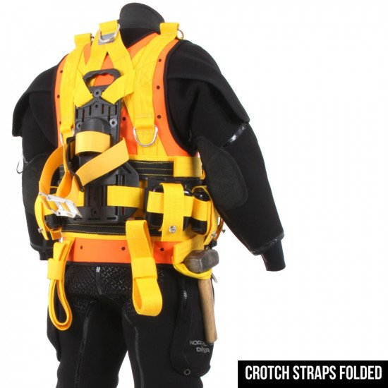 Back of the R-Vest showcasing folded up crotch straps
