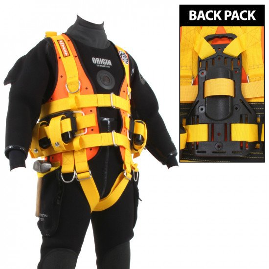 Northern Diver R-Vest with plastic back pack for cylinder and cam band to secure it