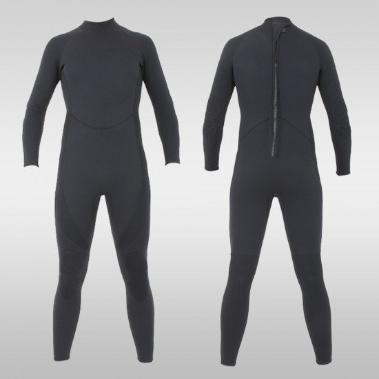 3.0mm or 5.0mm black military rear entry style full wetsuit - front and back views