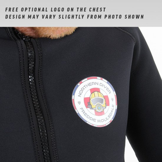Optional FREE printed logo on the chest of each black full wetsuit