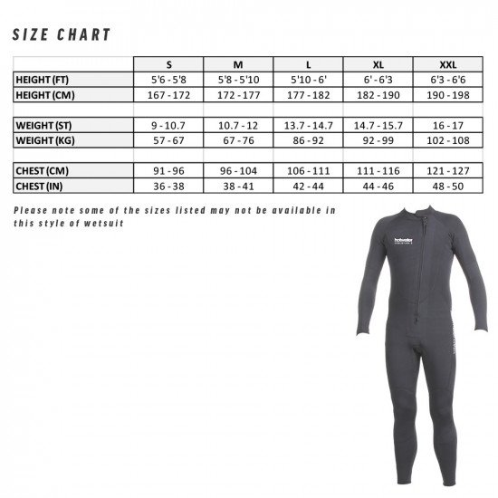 Size chart for the 3mm hotwater dual neoprene suit