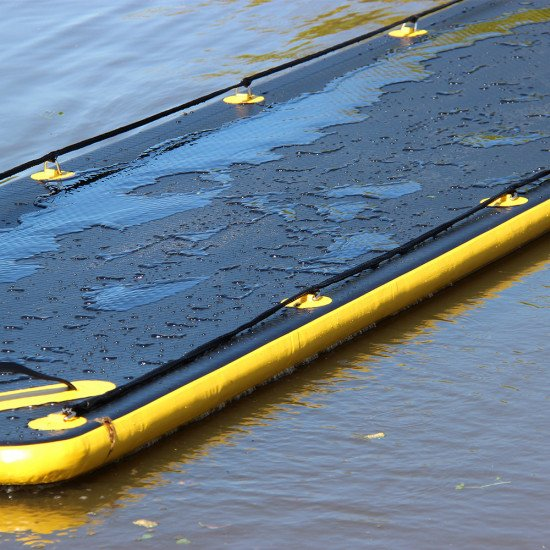 Northern Diver's SRE 8m Inflatable Air Track, in the water, close up of the run off technology