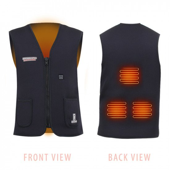 Front and back view of ndivers heated vest