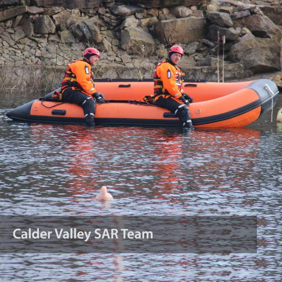 Calder Valley SAR Team - straddling the boat