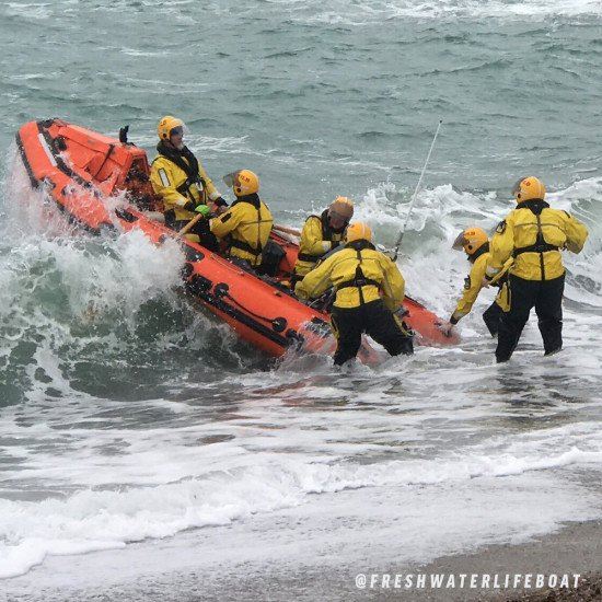 The Freshwater Lifeboat team on mission in our rescue suit in some demanding conditions