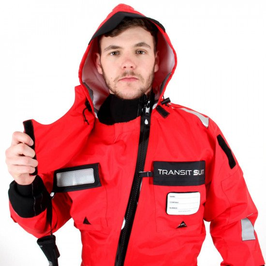 Survival Transit Suit - close-up of neck line and hook & loop fastening