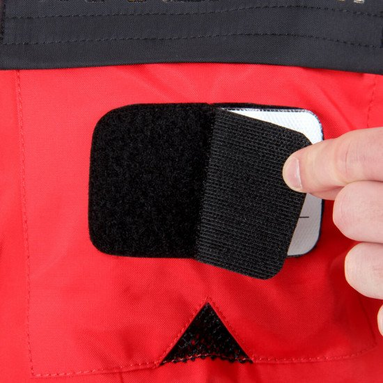 Survival Transit Suit - close-up of ID badge area and hook & loop fastening