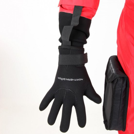 Survival Transit Suit - close-up of gloves and unique  elasticated to suit fastening