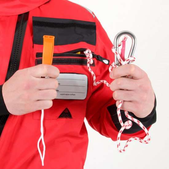 Survival Transit Suit - close-up of breast pocket with floating line and pea-less whistle