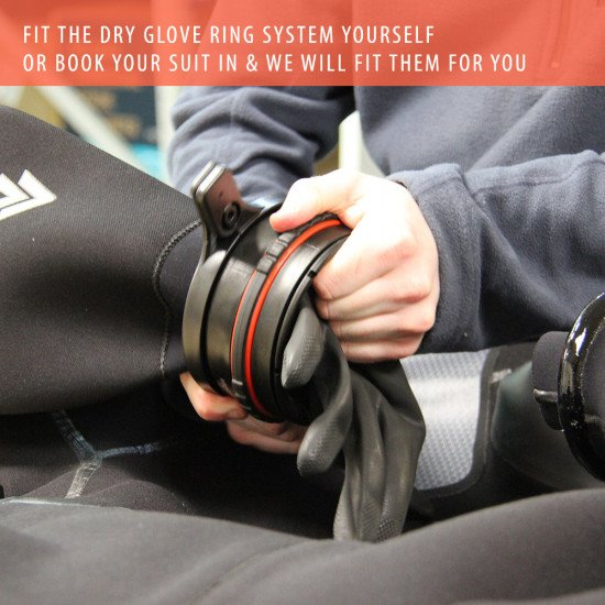 Northern Divers repairs and alteration service can fit the glove ring system to your drysuit.