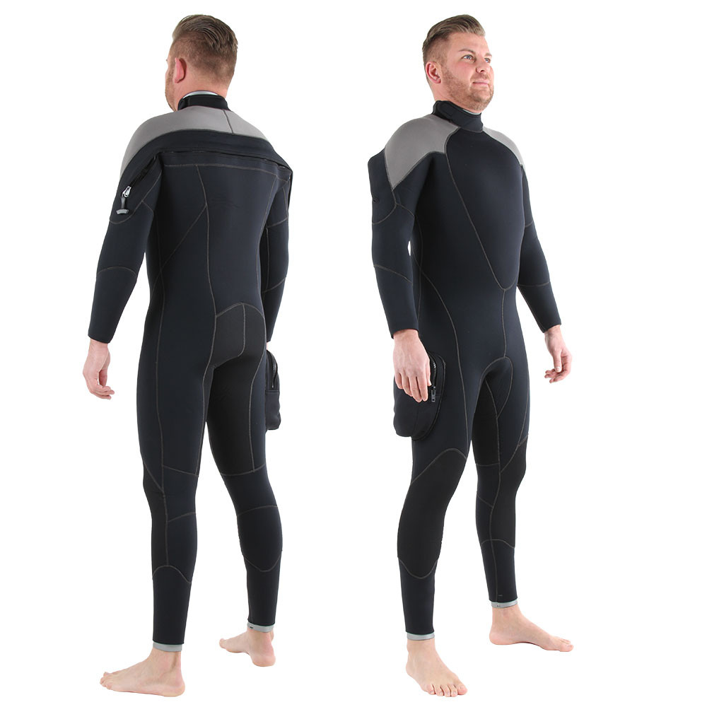 7mm Rear Entry Wetsuit - front & back shots, also available with silver accents